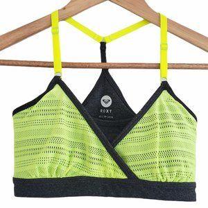 Roxy cross front sports bra grey neon green XS